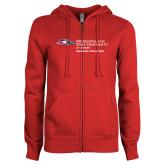 ENZA Ladies Red Fleece Full Zip Hoodie-Department of Social Work