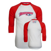 White/Red Raglan Baseball T-Shirt-Roadrunners with Head