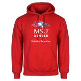 Red Fleece Hoodie-School of Education Stacked