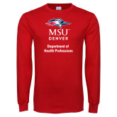 Red Long Sleeve T Shirt-Department of Health Professions Vertical