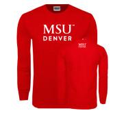 Red Long Sleeve T Shirt-MSU Denver Word Mark