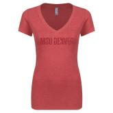 Next Level Ladies Vintage Red Tri Blend V-Neck Tee-MSU Denver Glitter Red Glitter