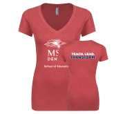 Next Level Ladies Vintage Red Tri Blend V Neck Tee-School of Education Stacked