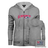 ENZA Ladies Grey Fleece Full Zip Hoodie-Roadrunners with Head