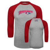 Grey/Red Raglan Baseball T Shirt-Roadrunners with Head