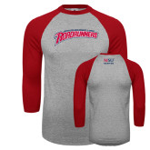 Grey/Red Raglan Baseball T Shirt-MSU Roadrunners