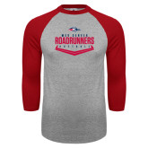 Grey/Red Raglan Baseball T Shirt-Softball