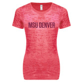 Next Level Ladies Junior Fit Fuchsia Burnout Tee-MSU Denver Glitter Hot Pink Glitter