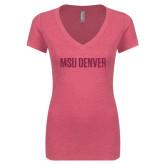 Next Level Ladies Vintage Pink Tri Blend V-Neck Tee-MSU Denver Glitter Hot Pink Glitter