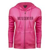 ENZA Ladies Fuchsia Fleece Full Zip Hoodie-MSU Denver Glitter Hot Pink Glitter