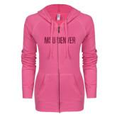 ENZA Ladies Hot Pink Light Weight Fleece Full Zip Hoodie-MSU Denver Glitter Hot Pink Glitter