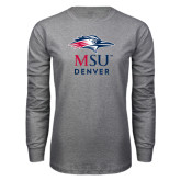 Grey Long Sleeve T Shirt-Informal Logo