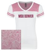 Ladies White/Bright Pink Juniors Varsity V Neck Tee-MSU Denver Glitter Hot Pink Glitter