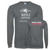 Charcoal Long Sleeve T Shirt-School of Education Stacked