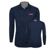 Ladies Navy Twill Button Down Long Sleeve-Roadrunners with Head