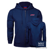 Navy Fleece Full Zip Hoodie-Roadrunners with Head