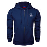 Navy Fleece Full Zip Hoodie-Informal Logo