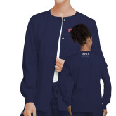 Ladies Navy Snap Front Warm Up Scrub Jacket-Roadrunners with Head