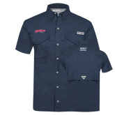 Columbia Tamiami Performance Navy Short Sleeve Shirt-Roadrunners with Head