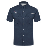 Columbia Tamiami Performance Navy Short Sleeve Shirt-Informal Logo