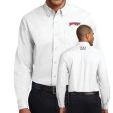 White Twill Button Down Long Sleeve-Roadrunners with Head