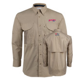 Khaki Long Sleeve Performance Fishing Shirt-Roadrunners with Head