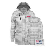 Ladies White Brushstroke Print Insulated Jacket-Roadrunners with Head