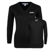 Ladies Black V Neck Sweater-Roadrunners with Head