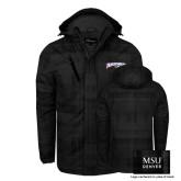 Black Brushstroke Print Insulated Jacket-Roadrunners with Head