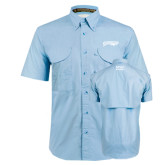 Light Blue Short Sleeve Performance Fishing Shirt-Roadrunners with Head