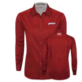 Ladies Red Twill Button Down Long Sleeve-Roadrunners with Head
