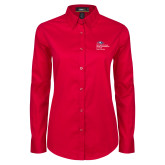 Ladies Red Twill Button Down Long Sleeve-School of Education