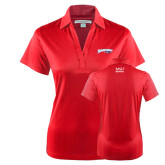 Ladies Red Performance Fine Jacquard Polo-Roadrunners with Head