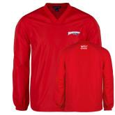 V Neck Red Raglan Windshirt-Roadrunners with Head