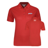 Ladies Easycare Red Pique Polo-Roadrunners with Head