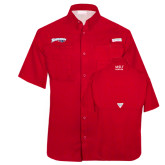 Columbia Tamiami Performance Red Short Sleeve Shirt-Roadrunners with Head