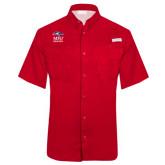 Columbia Tamiami Performance Red Short Sleeve Shirt-Informal Logo