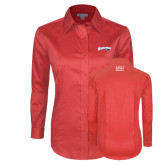 Ladies Red House Red Long Sleeve Shirt-Roadrunners with Head