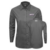 Ladies Grey Tonal Pattern Long Sleeve Shirt-Roadrunners with Head