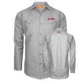 Red Kap Light Grey Long Sleeve Industrial Work Shirt-Roadrunners with Head