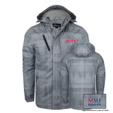 Grey Brushstroke Print Insulated Jacket-Roadrunners with Head