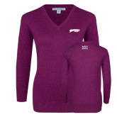 Ladies Deep Berry V Neck Sweater-Roadrunners with Head