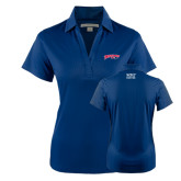 Ladies Navy Performance Fine Jacquard Polo-Roadrunners with Head