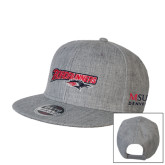 Heather Grey Wool Blend Flat Bill Snapback Hat-Roadrunners with Head