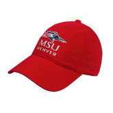Red Twill Unstructured Low Profile Hat-Informal Logo