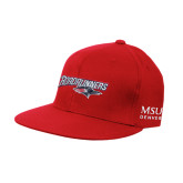 Red OttoFlex Flat Bill Pro Style Hat-Roadrunners with Head