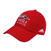 Adidas Red Slouch Unstructured Low Profile Hat-Informal Logo