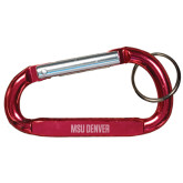 Red Carabiner with Split Ring-MSU Denver Flat Engraved