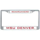 Metal License Plate Frame in Chrome-Mascot