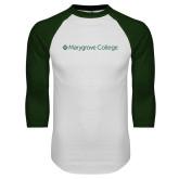White/Dark Green Raglan Baseball T Shirt-Wordmark